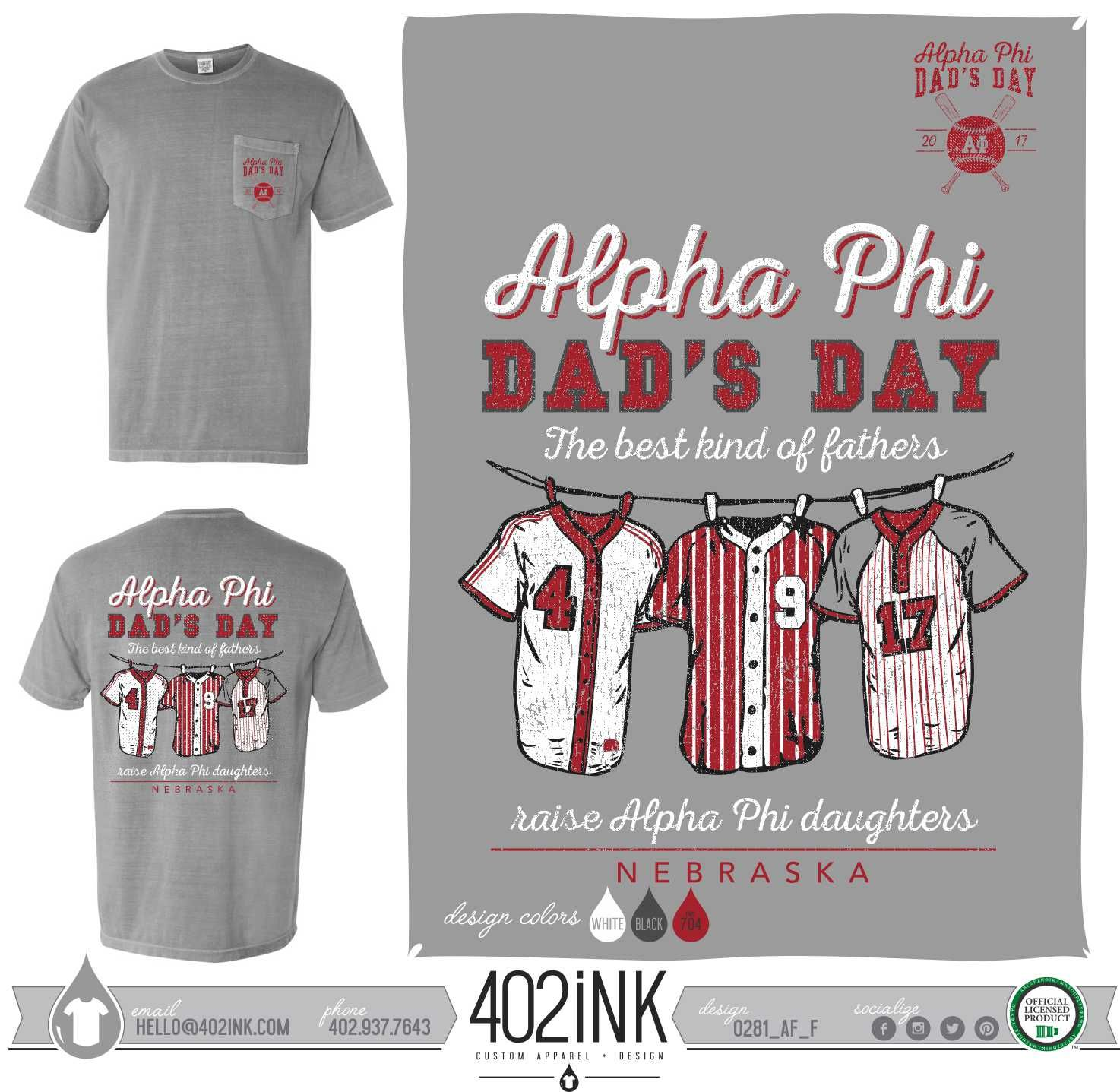 72d246db ... Custom Greek Apparel, Screen printed apparel, embroidered apparel,  Sorority, APHI, Alpha Phi, Dad's Day, Dad's Weekend, Game Day, Baseball  Theme