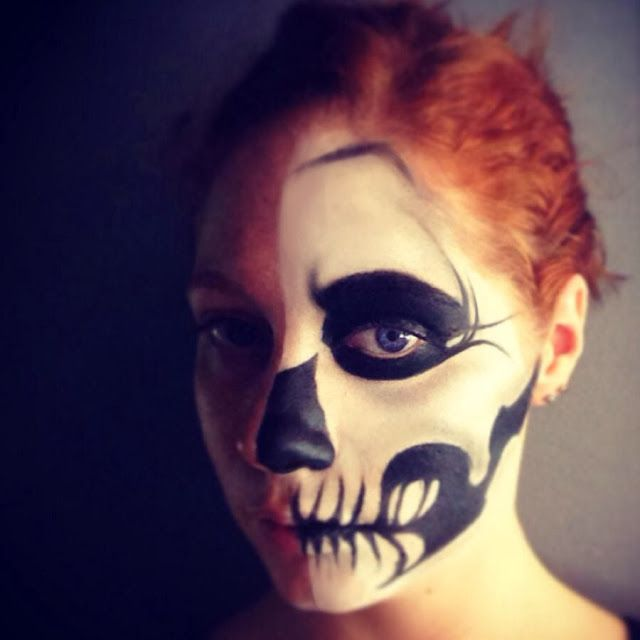 Half face skull makeup for Halloween