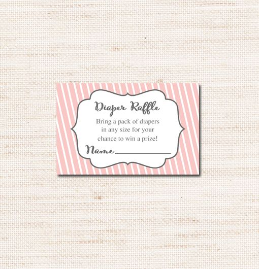 Pink Baby Shower Diaper Raffle  – Instant Download Printable $2.00