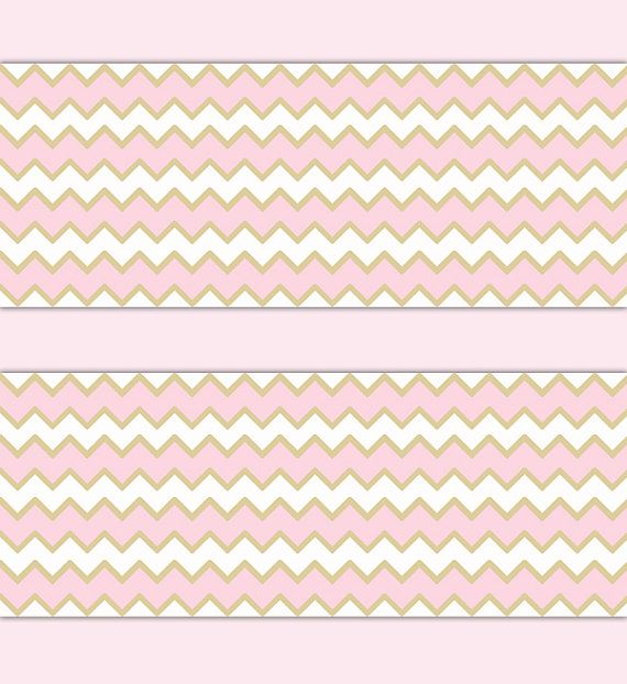 pink gold chevron wallpaper border decal wall art girl nursery decor