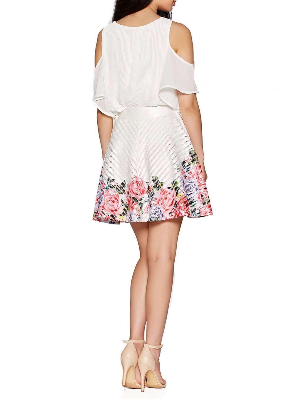Quiz ivory flower print hem skater skirt products pinterest