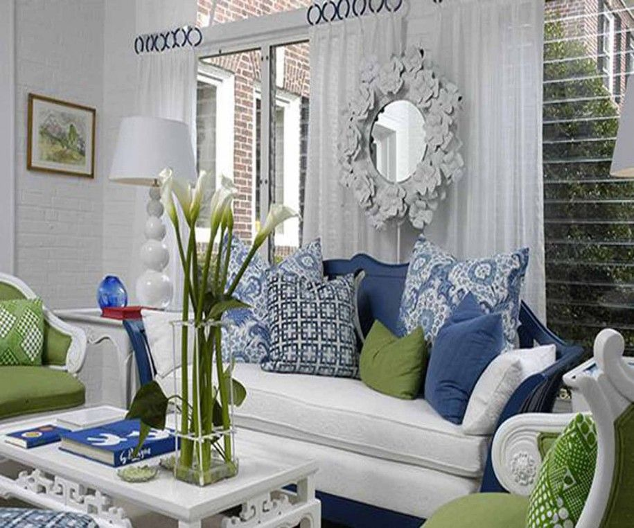 White Sofa With Gray And Brown Pillows White Sofa Also With Grey Blue And G Green Living Room Decor Blue And White Living Room Blue And Green Living Room