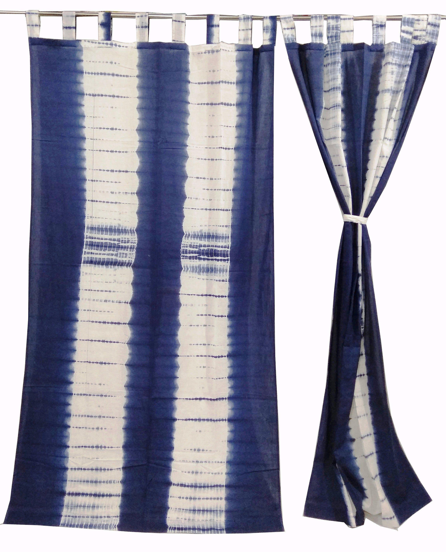 Bohemian Cotton Curtains Boho Decor Beach Curtains Blue And White