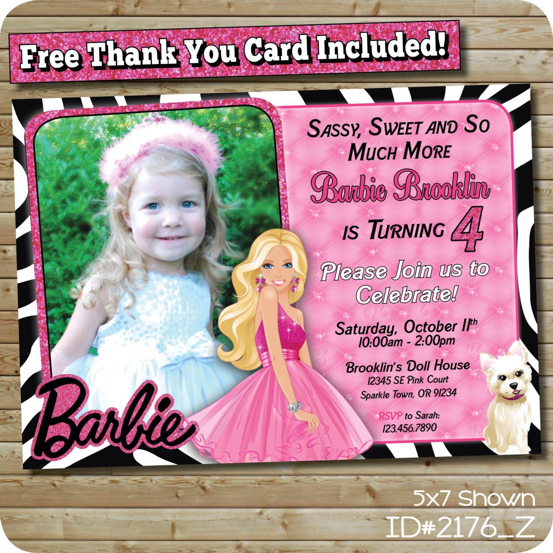 Barbie Birthday Invitation Custom Invite Blonde Barbie