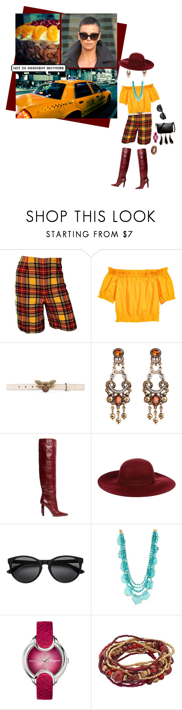 """""""rust red and orange"""" by whimsical-angst ❤ liked on Polyvore featuring Pandora, Gucci, Vetements, Dry Lake, Panacea, Salvatore Ferragamo, Luana and vintage"""