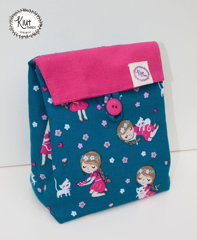 Little Girl With Kitten Fabric Bag For Lunch Fabric Bag Little Girls Etsy
