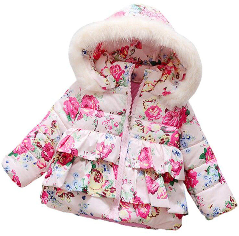 Kids Girls Winter Hoodies Coats Padded Warm Jacket Fur Hooded Cotton Parka S HOT