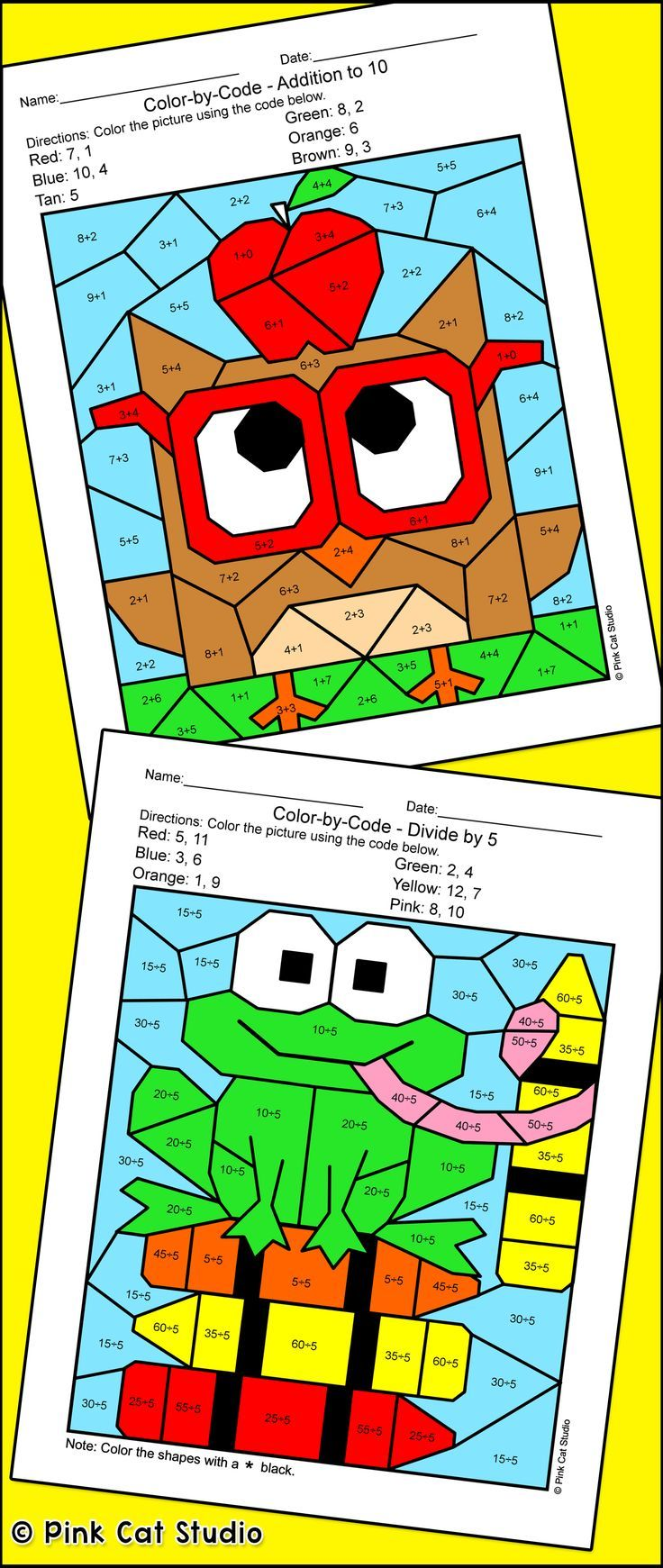 Color by Number School Pets Differentiated Math Bundle: Frog, Cat ...