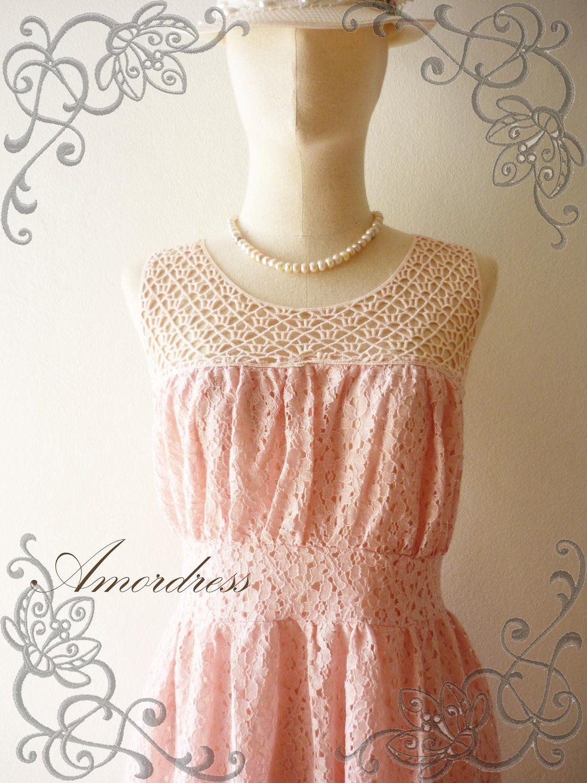 Pink see through lace dress  LimitedAmor Vintage Inspired The Angel Vintage Pale Pink Coral