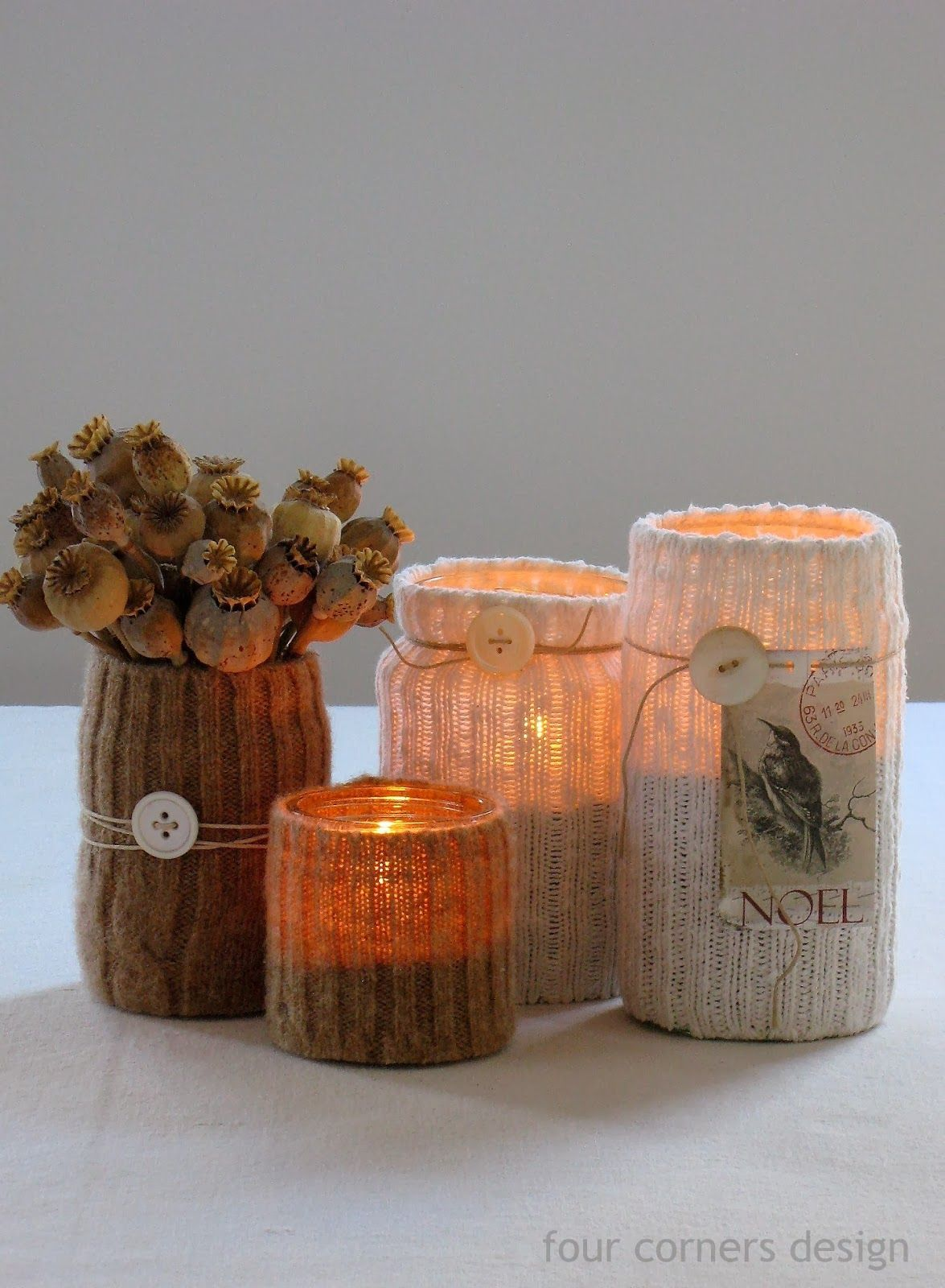 Candle holders made from recycled materials -- sock ribbing over jar,  tealight inside.