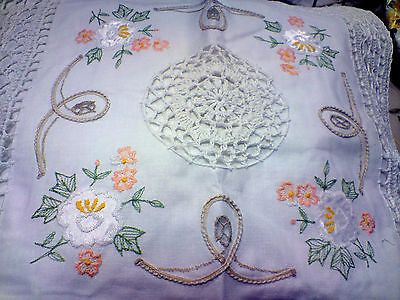 "A pair of beautiful 16"" square embroidered Crochet Cushion Cover - 100% cotton"