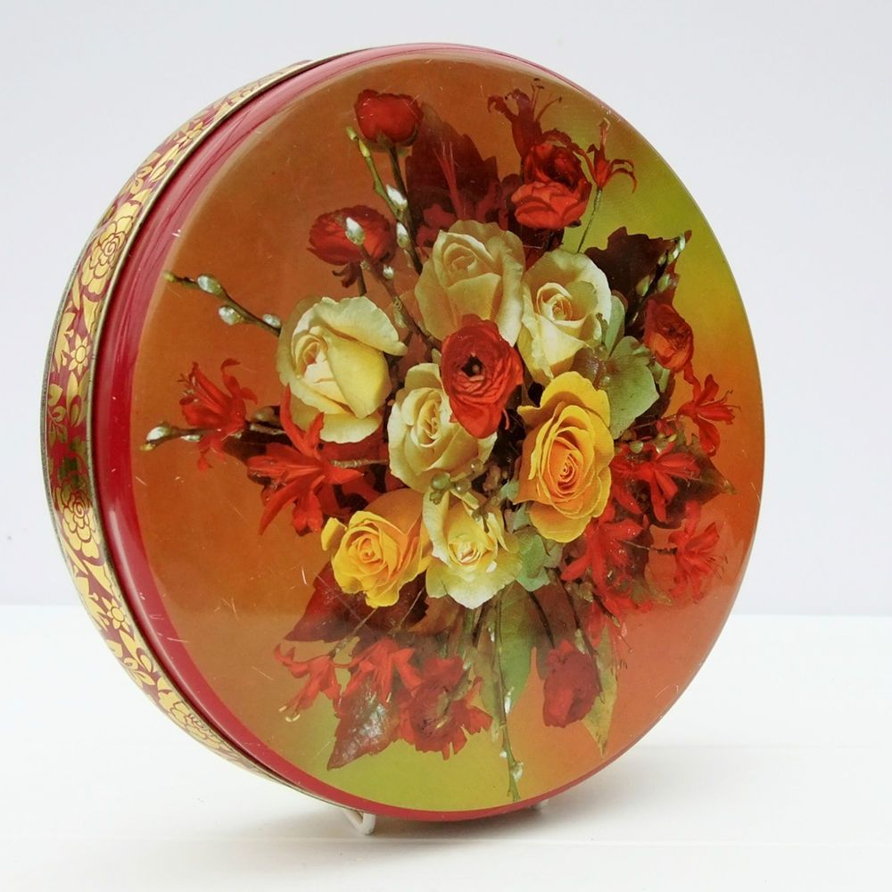 Vintage Confectionery Biscuits Tin Floral Roses
