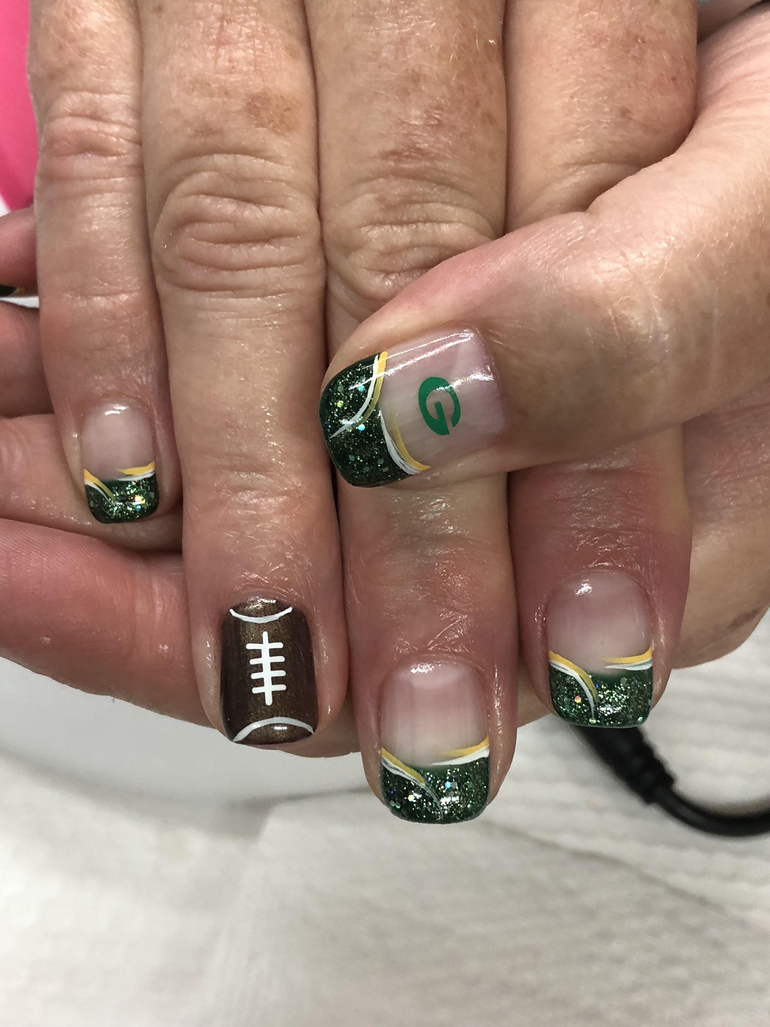 Green Bay Packer Gel Nails Green Bay Packers Nail Art Green Bay Packers Nails Football Nails