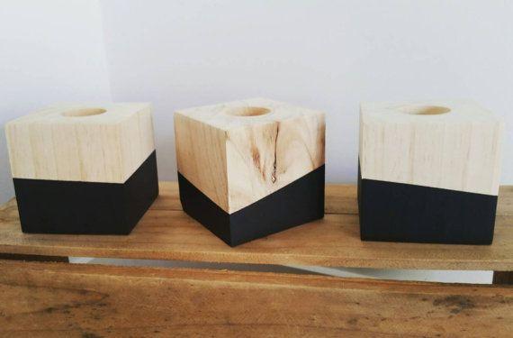 Wooden Block Tealight Holder Handmade By Amelayna Designs
