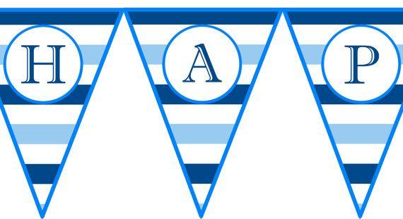 Instant Download Blue Horizontal Stripe Printable Birthday Banner ...