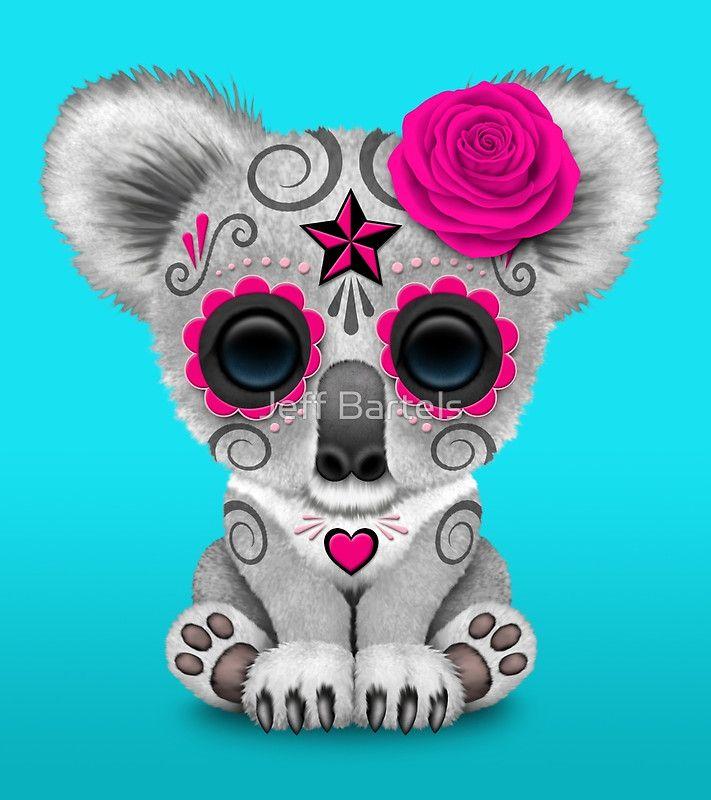 Pink Day Of The Dead Sugar Skull Baby Koala Art Print By Jeff