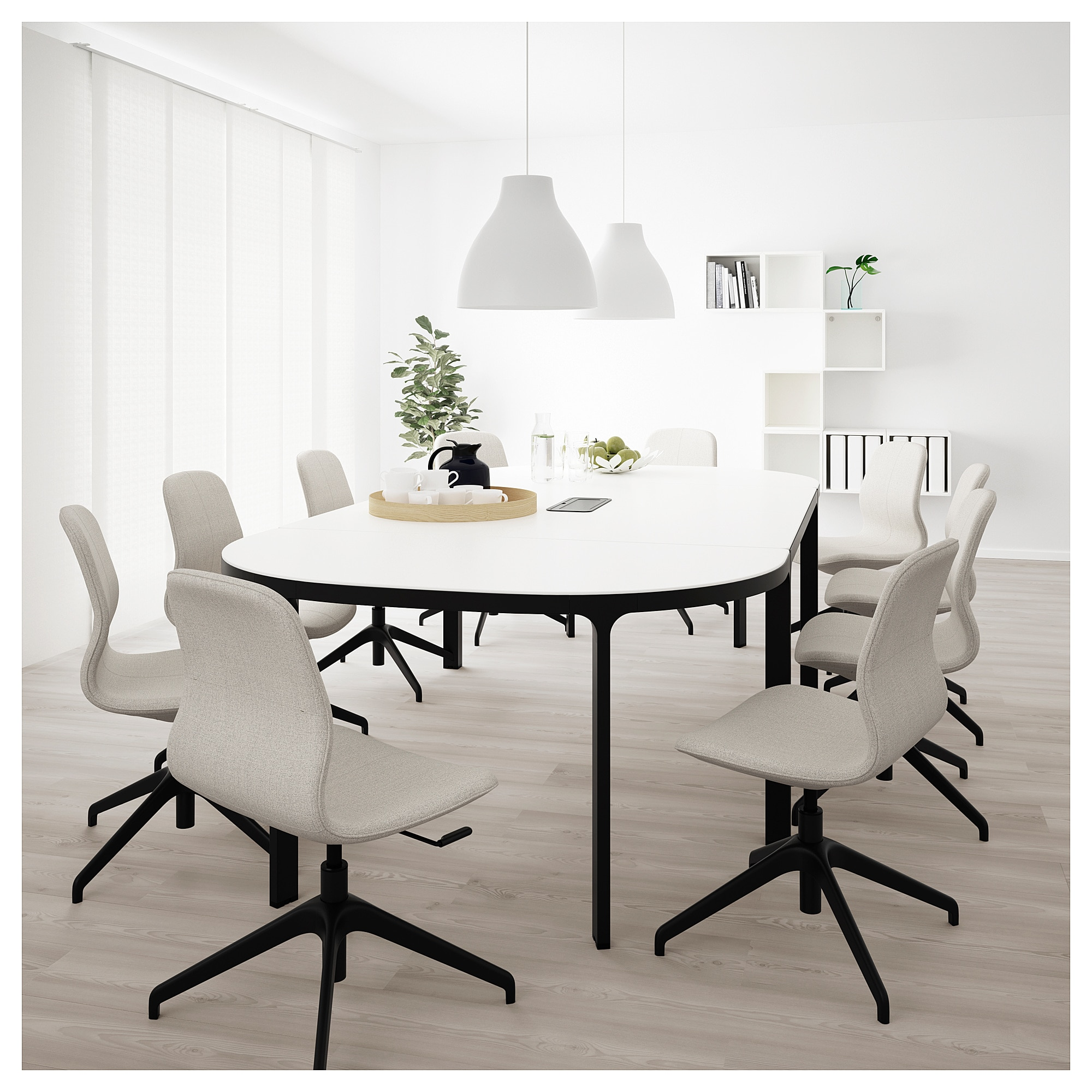 Bekant Conference Table White Black 110 1 4x55 1 8 280x140