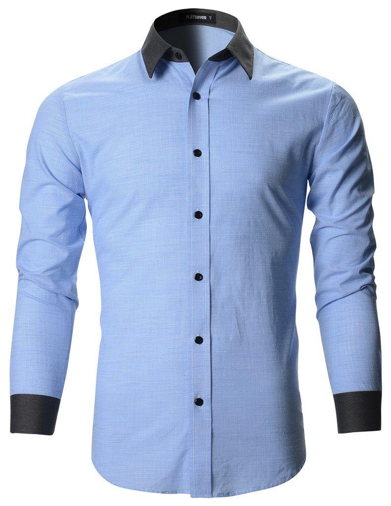 Mens Designer Slim Fit Contrast Collar Dress Shirts Sh195