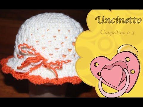 Tutorial Cappellino Neonata Alluncinetto Crochet Baby Hat