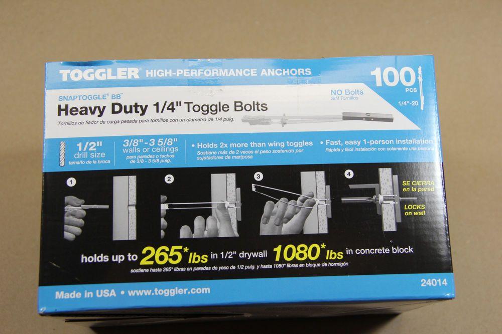 Toggler Snaptoggle Bb 1 4 H D Strap Snap Toggle Bolts 100 24014 Or 25014 36296240141 Ebay Toggle Bolts Toggle Wall Mounted Tv