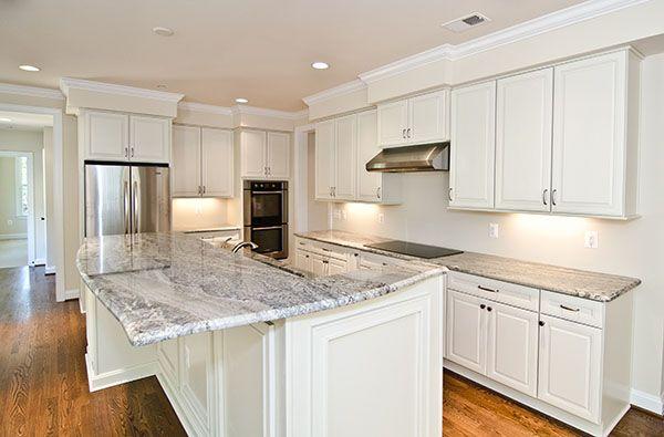 Straight Corner And Radius Kitchen Island Design #granite #kitchen White  Granite