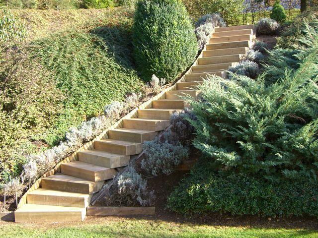 Bahnschwellen für Stufen aus kesseldruckimprägniertem Holz - holzdeko im garten