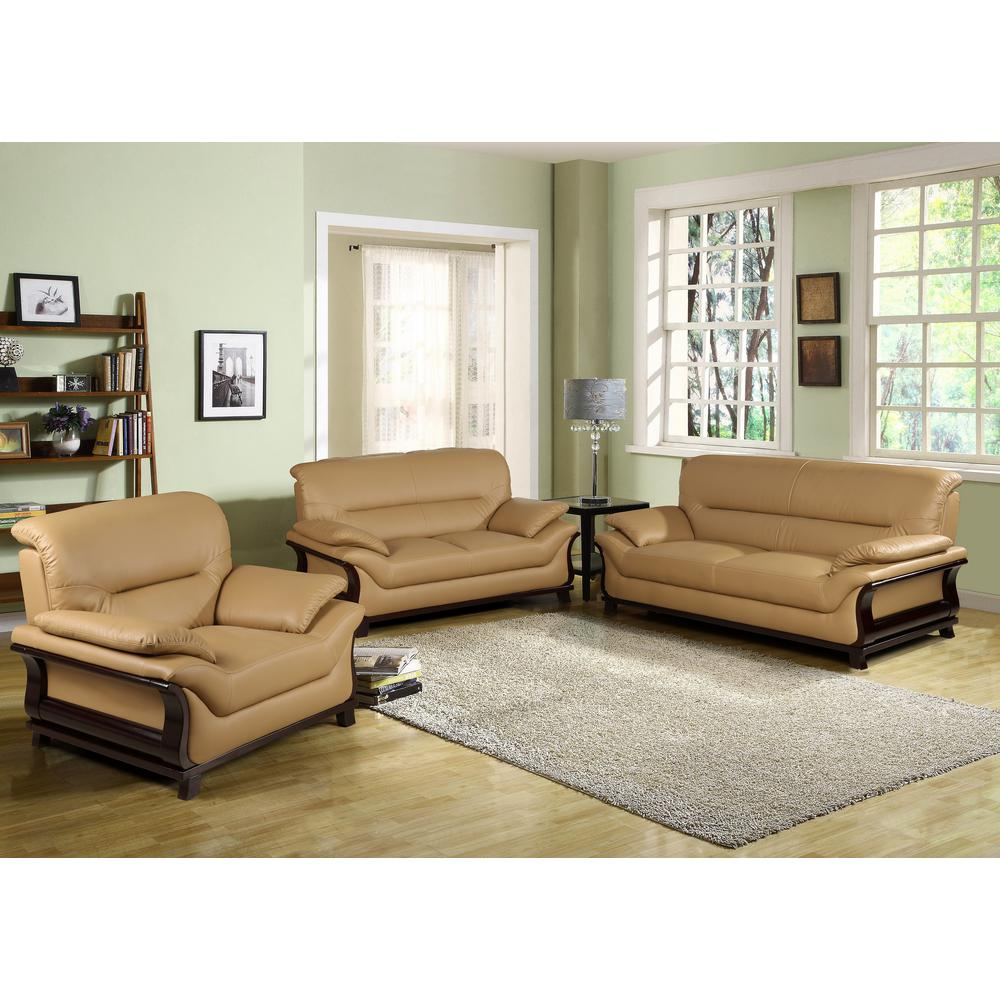 Best Star Home Living Khaki Bonded Leather Three Piece Sofa Set 400 x 300