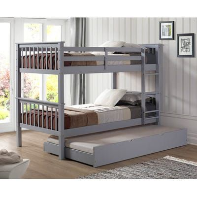 Kids Gray Wood Twin Bunk Bed With Trundle Bed Twin Bunk Beds