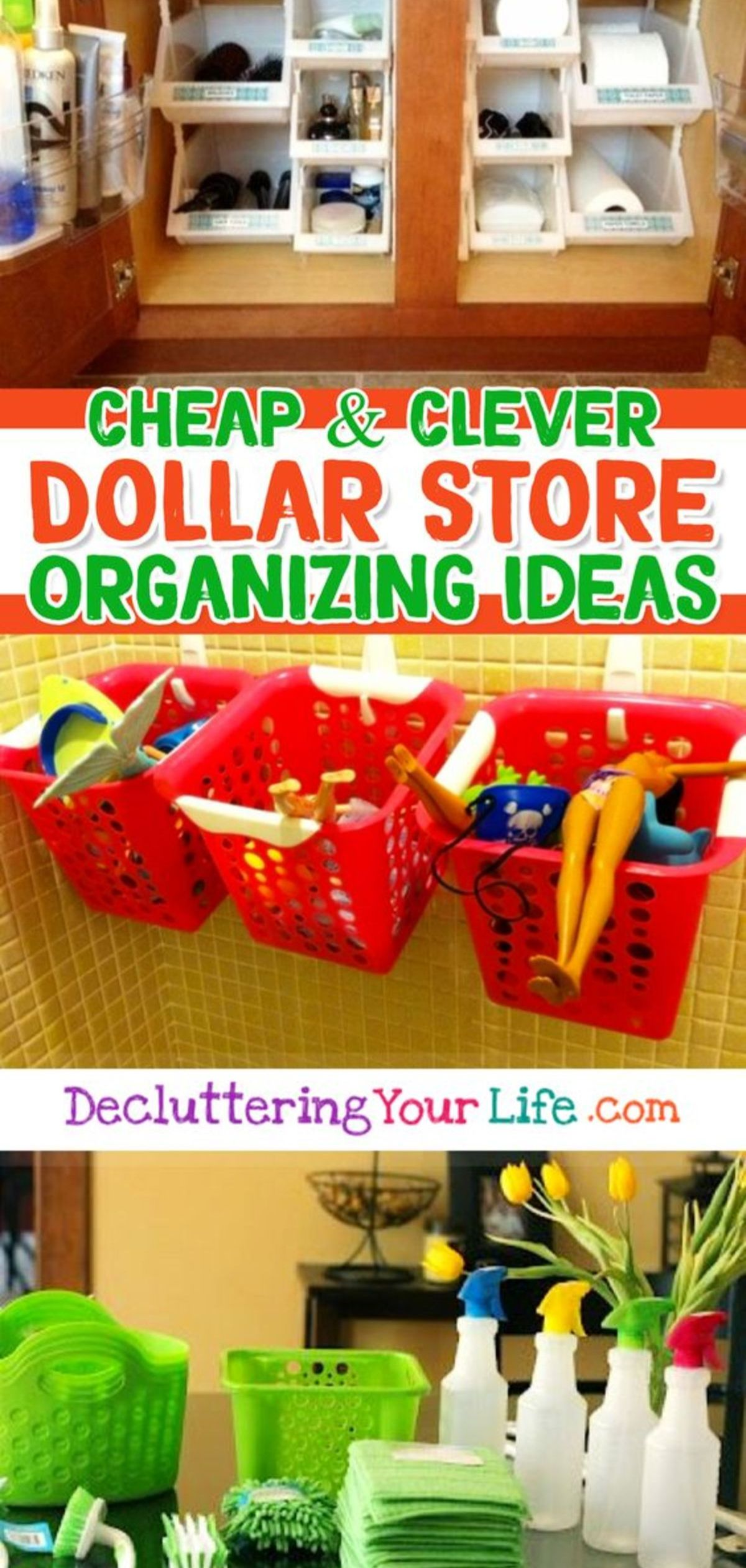 Awesome Dollar Store & Dollar Tree Organization Hacks for Organizing Your Home on a Budget in 2019 images
