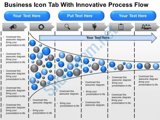 business icon tab with innovative process flow powerpoint template - process flow diagram template