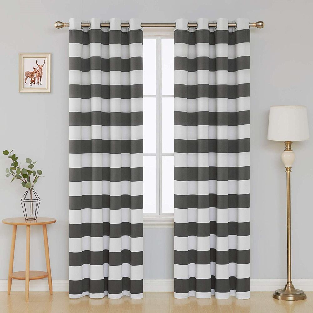 Ebay Sponsored Deconovo Grey Blackout Curtains Striped Pattern Curtains Thermal Insulated Grey Curtains Cool Curtains Kids Curtains