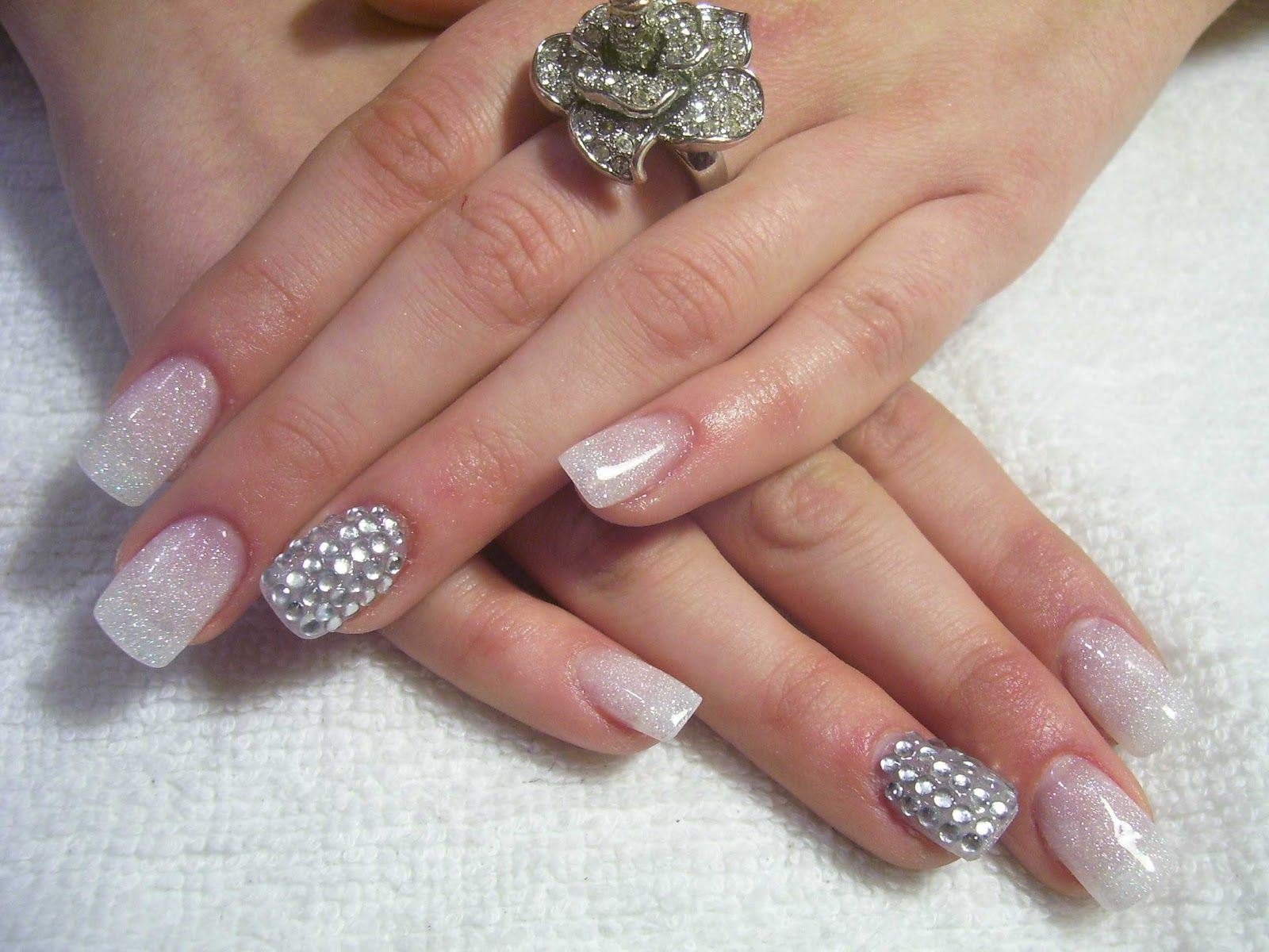 These nails are truly glamourous that are made with white over pink ...