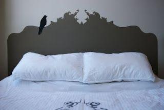 stencil headboard. minus the black creepy bird