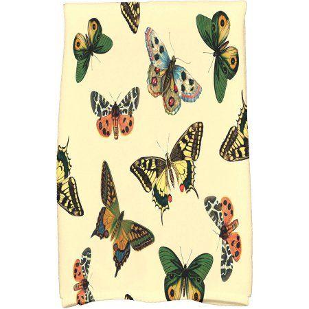 Simply Daisy 16 inch x 25 inch Butterflies Animal Print Hand Towel, Yellow