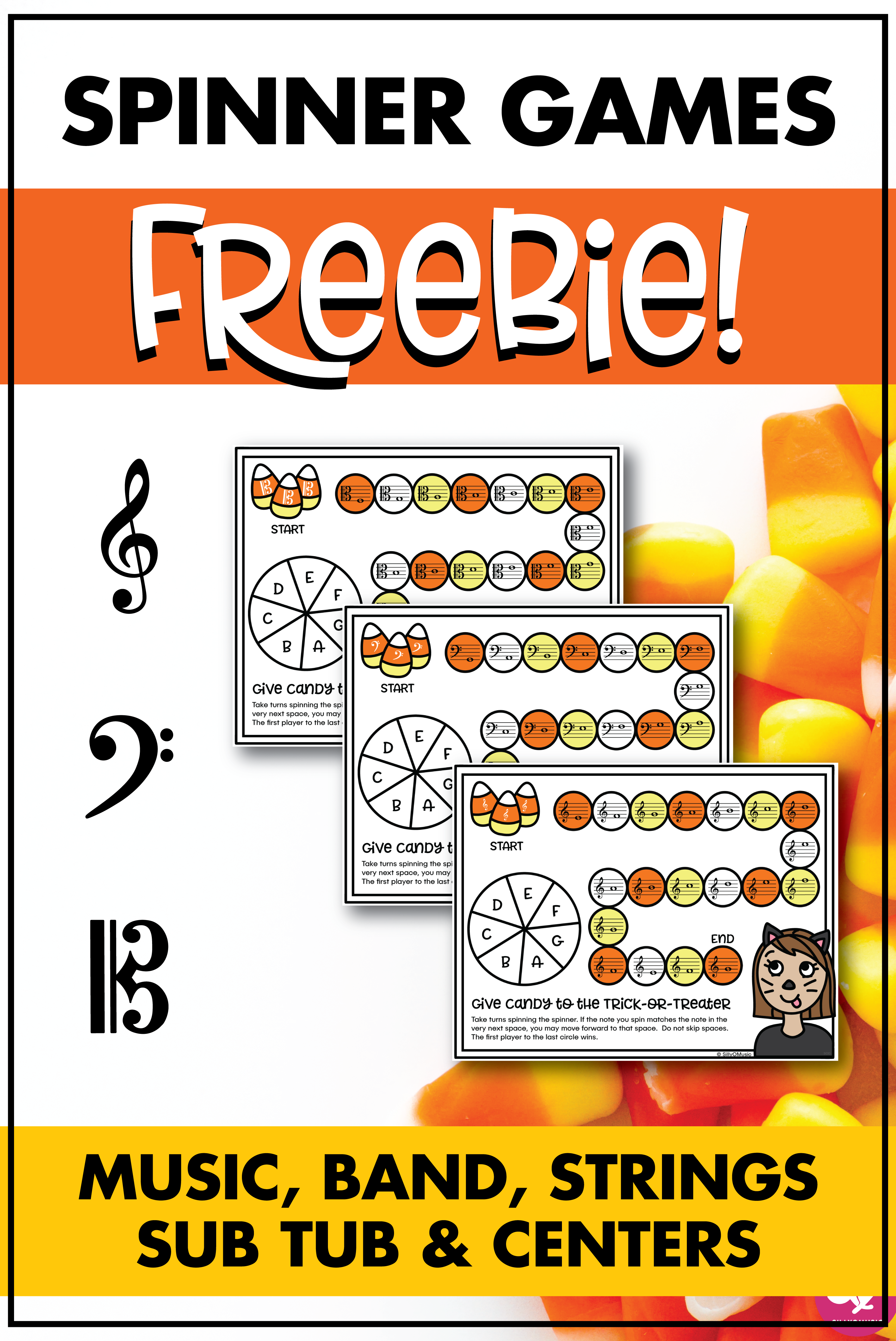 Halloween Music Free Spinner Board Games For 3 Clefs