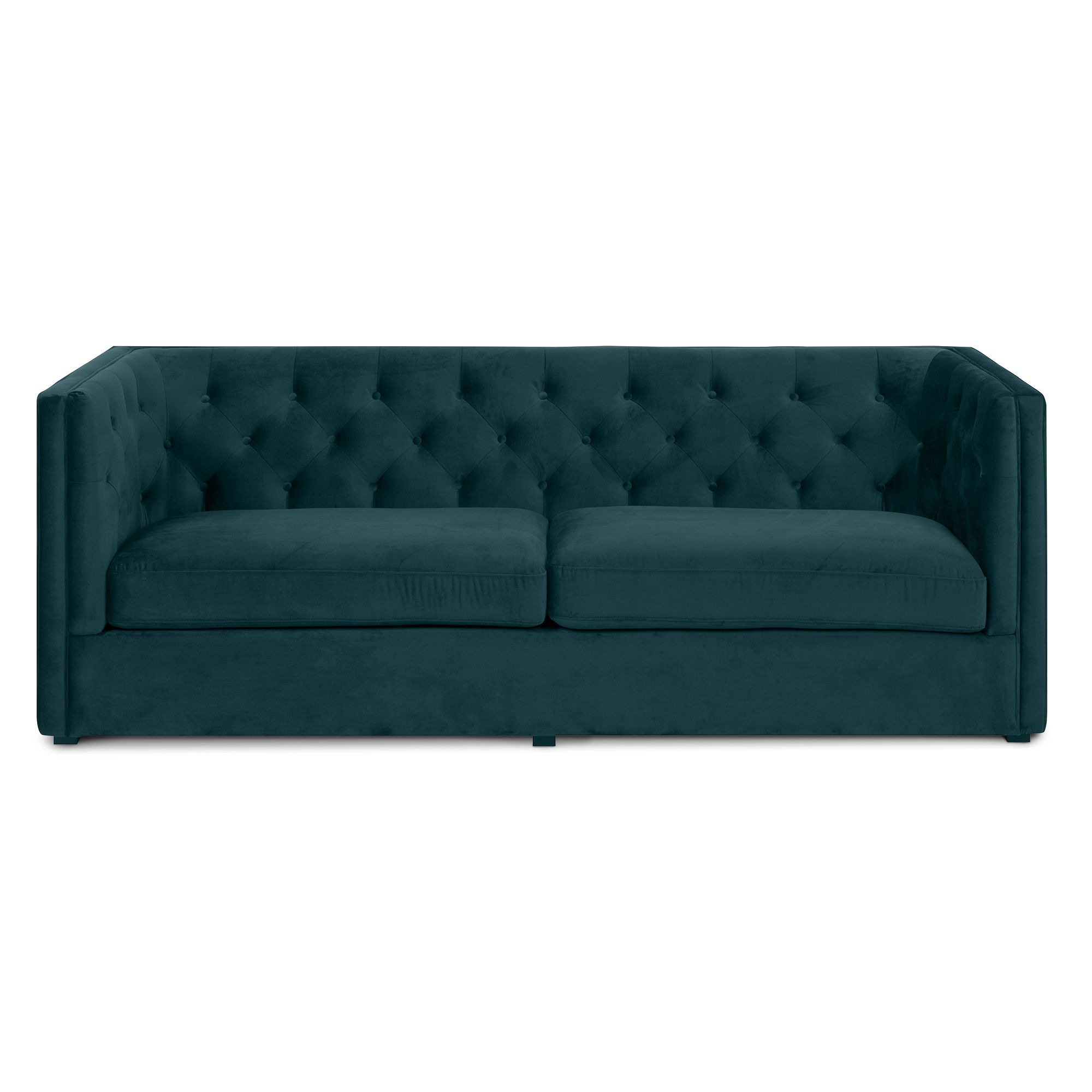 charlston 3 pers sofa en moderne chesterfield sofa monteret med flaske gr n velour stof der. Black Bedroom Furniture Sets. Home Design Ideas