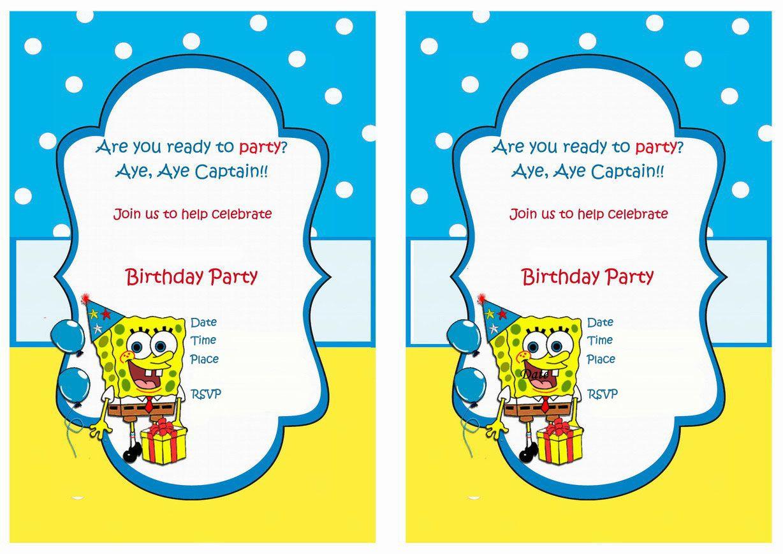 Spongebob Birthday Invitations - Birthday Printable ...