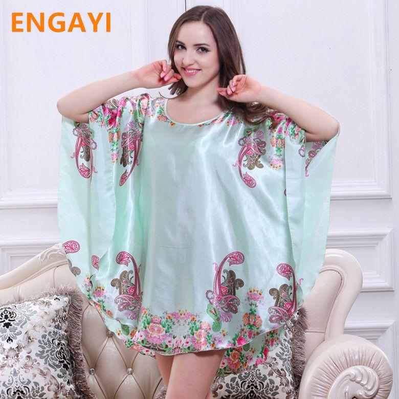95a9c6d7cb9 New Plus Size Women Nightgown Night Dress Nightwear Sexy Silk Satin Nightdress  Night Gown Robes Bathrobe longue femme 7050-5