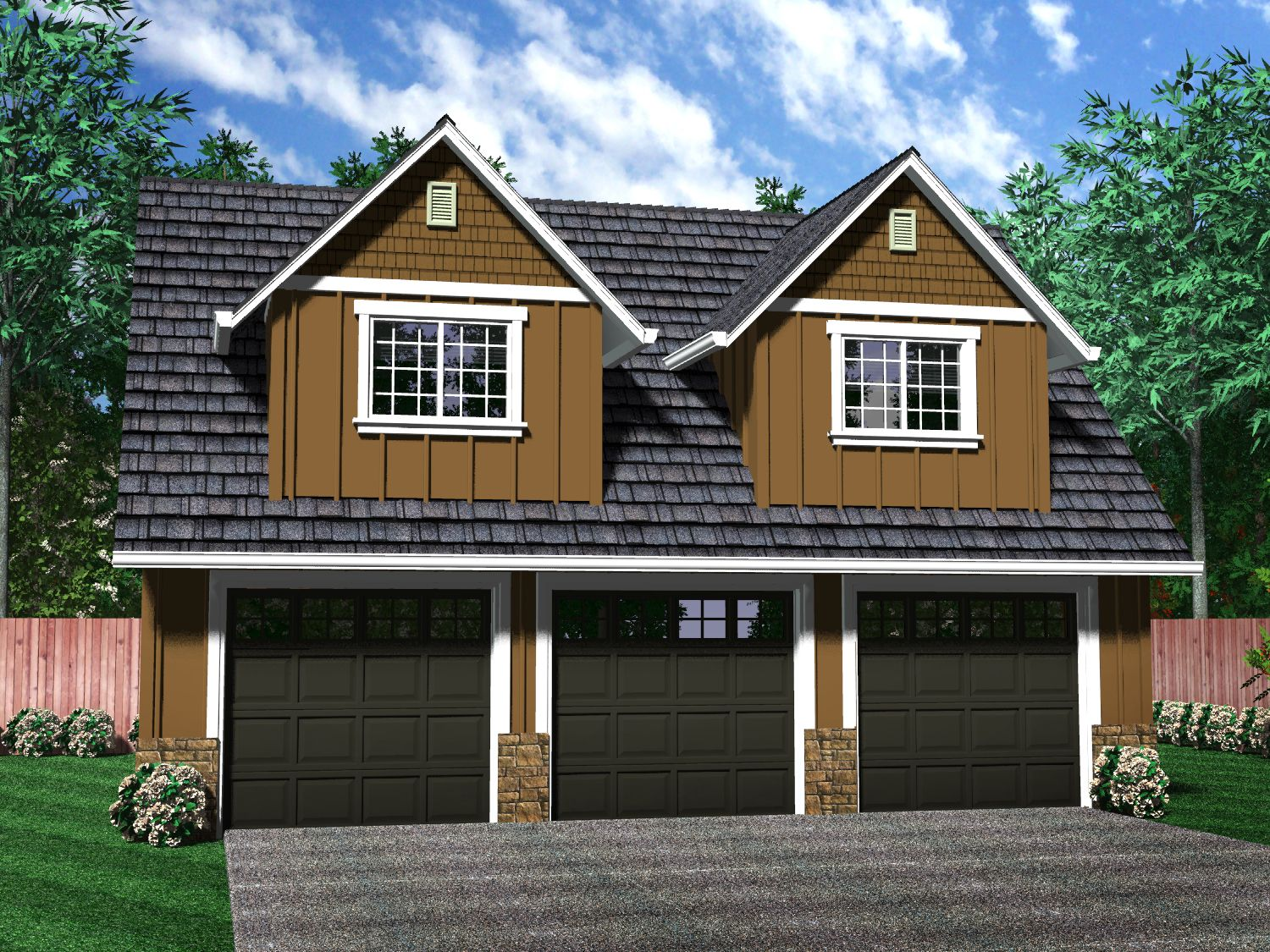Painting of independent and simplified life with garage for Two bedroom garage apartment plans