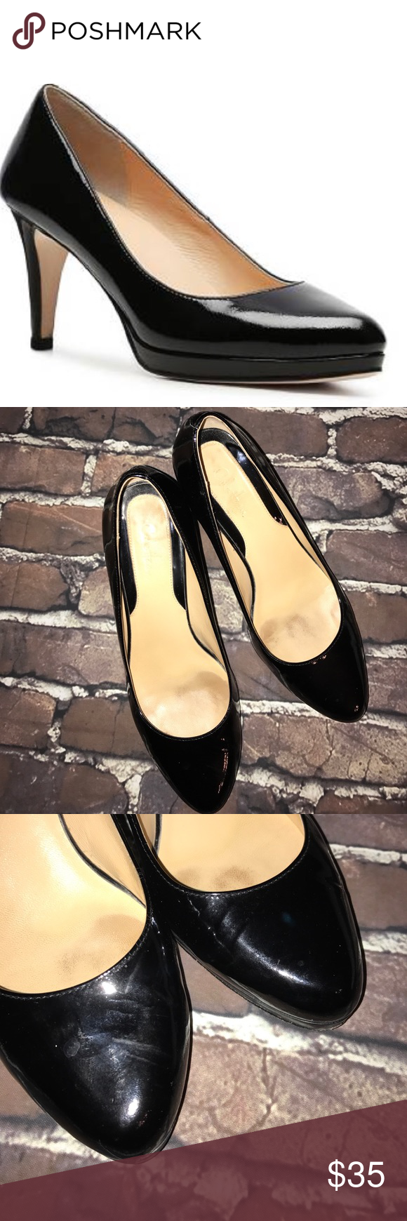 """COLE HAAN~Margot Mid-heel Patent Leather Pumps~7 Apron 3"""" heel with a half inch platform..feature leather soles and padded insoles. Great for work and beyond. Cole Haan Shoes Heels"""