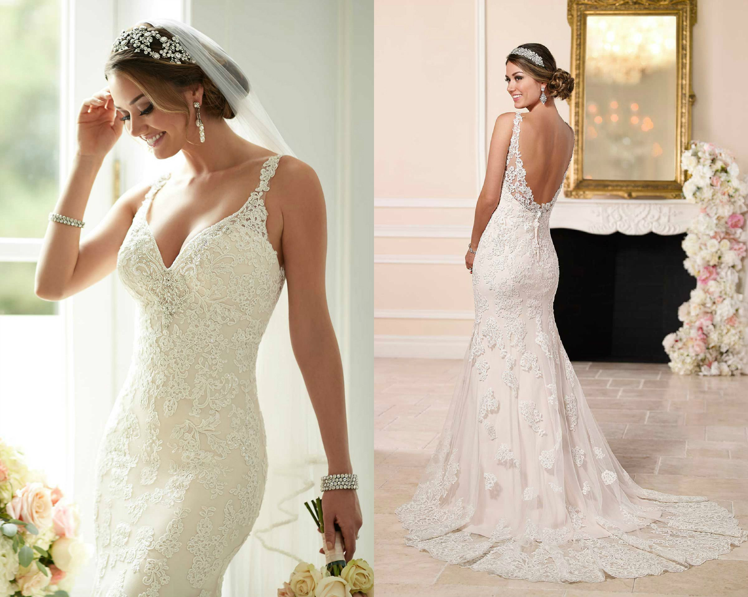 stella york 6142 - plunging neckline and low v back lace wedding