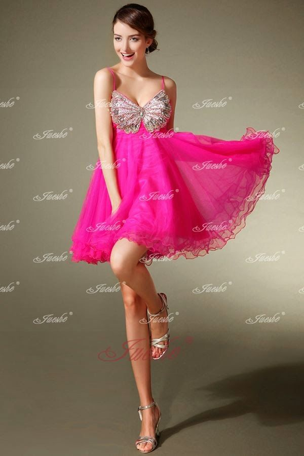 A-line Hot Pink Tulle Short Prom Dress with Spaghetti Straps and ...