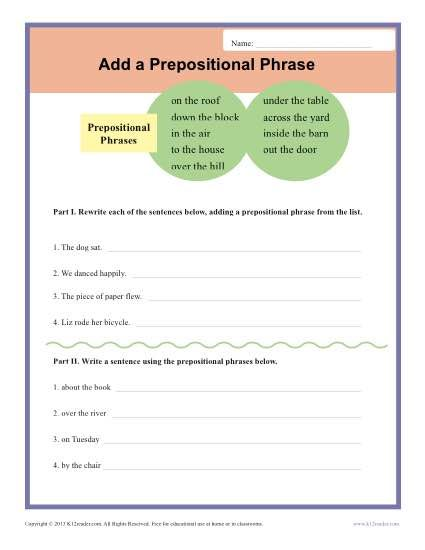 Add a Prepositional Phrase | Prepositional phrases, Writing ...