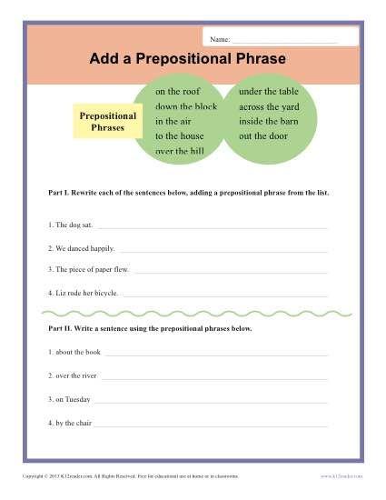 Add A Prepositional Phrase Sentence Structure Worksheets Prepositional Phrases Prepositional Phrases Activities Homeschool Writing Prepositional phrases worksheets middle