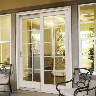 Masterpiece Composite 59 1 4 In X 79 1 2 In White Right Hand Smooth Interior With 10 Lite Grilles Be French Doors Exterior French Doors Interior French Doors