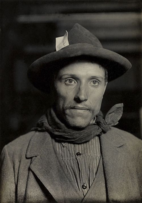 Lewis W. Hine (1874-1940)  Italian laborer, Ellis Island 1905-12