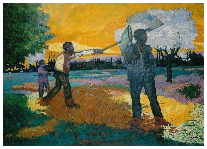 Kelebek Avcısı / Chasseurs De Papillon / Butterfly Hunters - Oil on canvas-160x120cm-1989