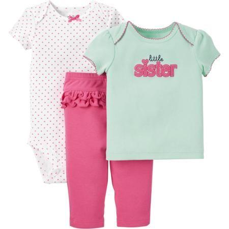 NWT Baby Sister Hot Pink Glitter Heart One Piece Newborn 0-3 Months NEW