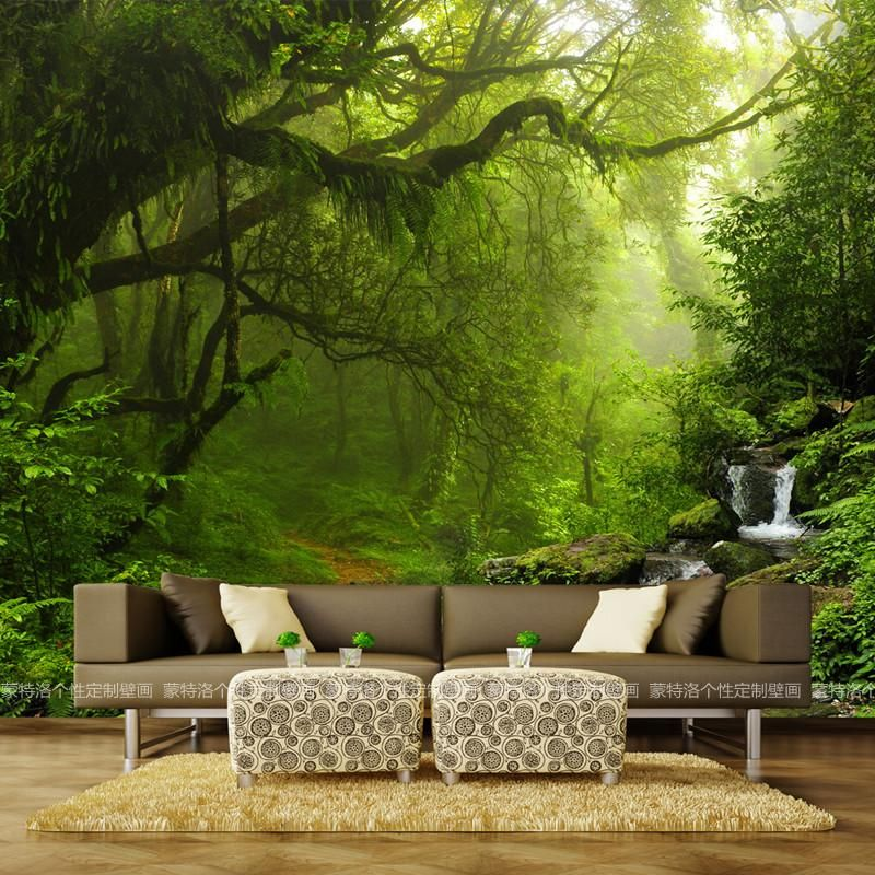 50 3D stereoscopic large murals forest landscape 3d