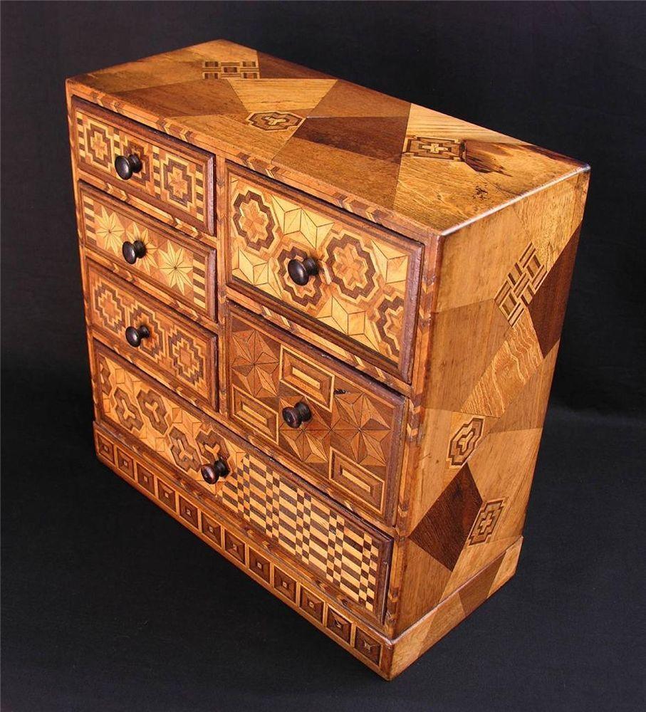 Superb Antique Japanese Yosegi Marquetry Tansu Cabinet C 1920
